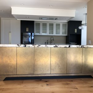 Gold kitchen - custom design - private residence Naples